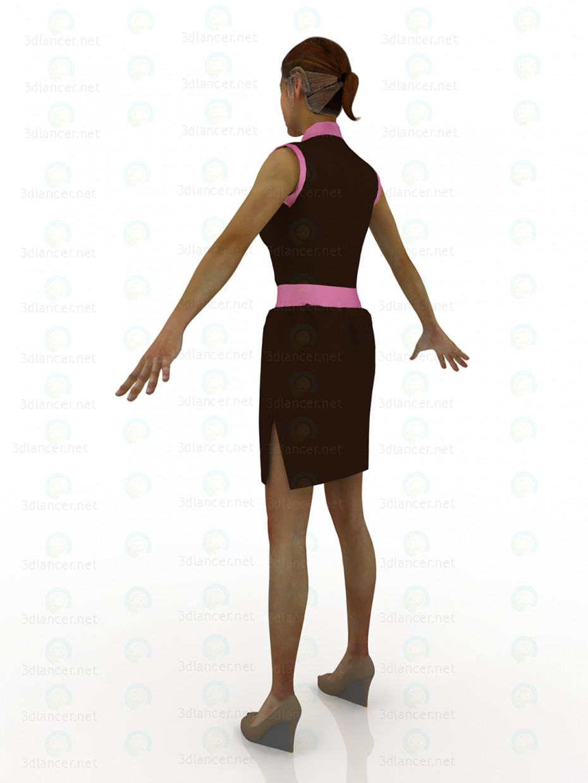 3d модель Платье-тюльпан шоколадно-розового цвета – превью