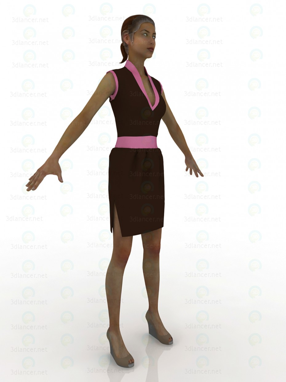 3d model Dress-chocolate tulip pink - preview