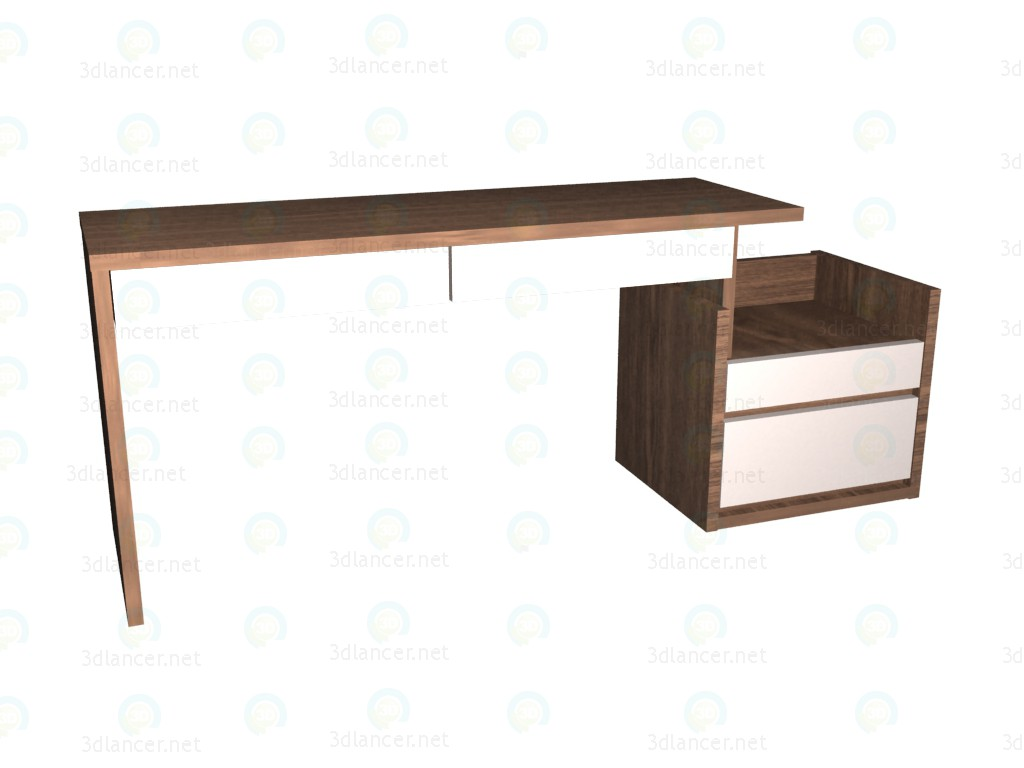 3d model Writing desk with pedestal 150 - preview
