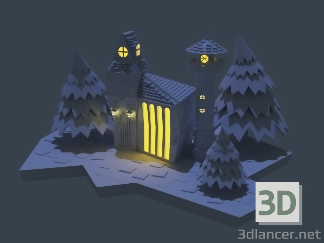 3d Lowpoly fairy-tale house model buy - render
