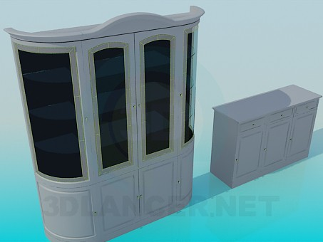 3d model Cupboard and sideboard complete - preview