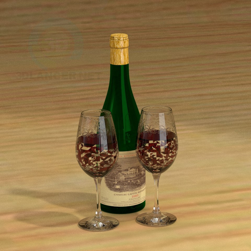 3d model The bottle and glasses - preview