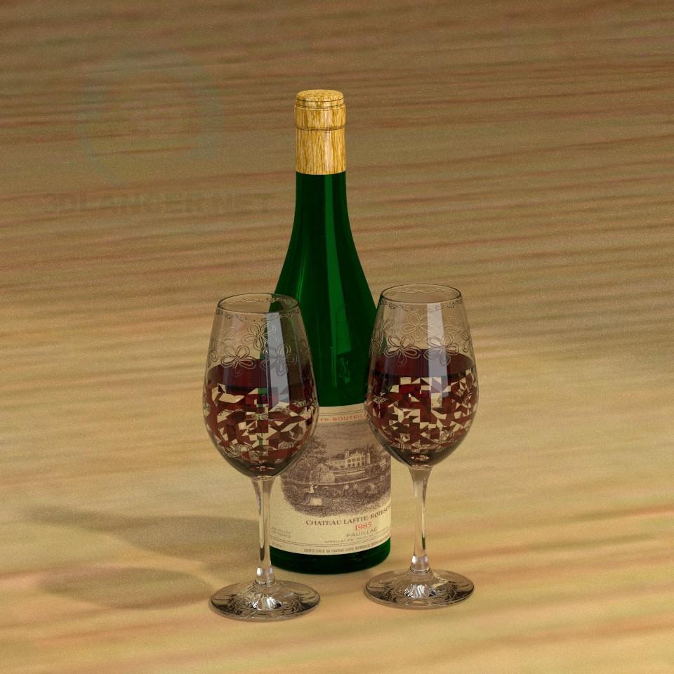 3d моделирование Бутылка и бокалы модель скачать бесплатно