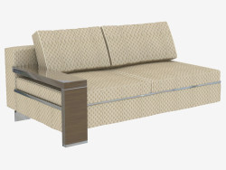 Element of modular sofa with wooden armrest double
