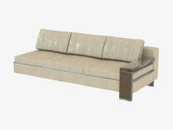 Element of modular sofa with wooden sidewall, triple