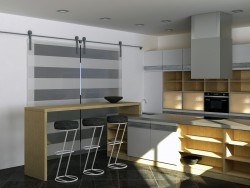 Kitchen with island, modern minimalist style