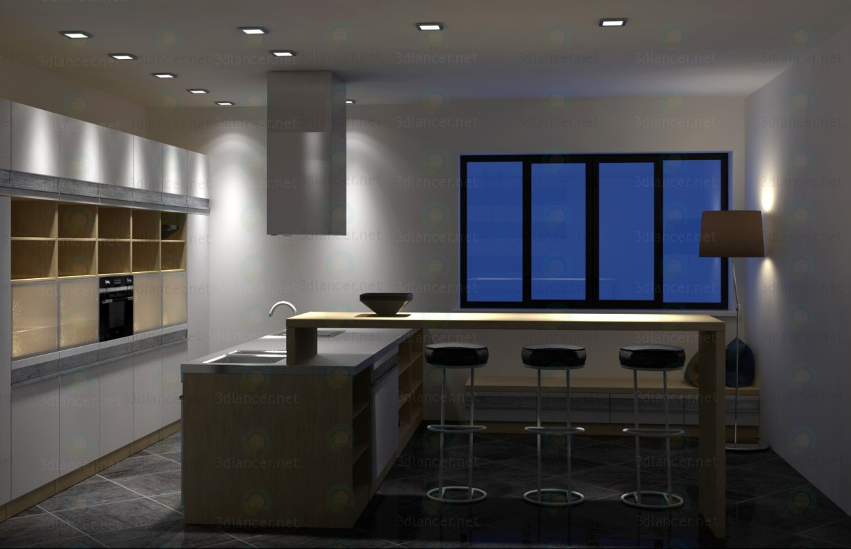 Cocina con isla, estilo moderno minimalista 3D modelo Compro - render