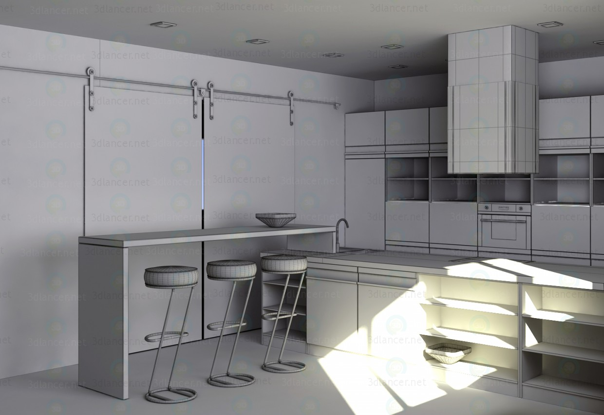 3d Kitchen with island, modern minimalist style model buy - render