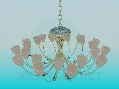 3d modeling Chandelier with tulips model free download