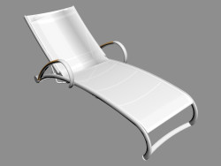 Sun lounger with teak armrests and wheels