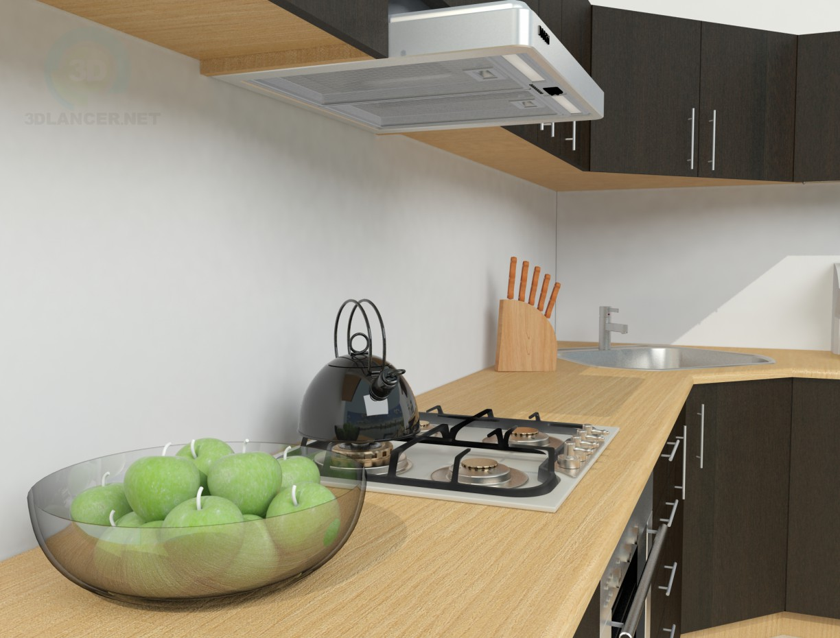 3d model Simple kitchen - preview