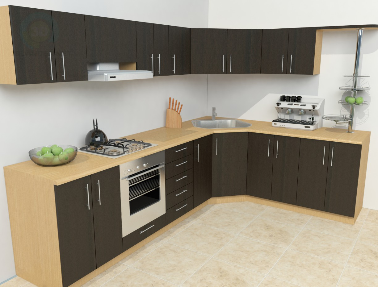 Modelo 3d cocina simple descargar gratis for Model home kitchen images