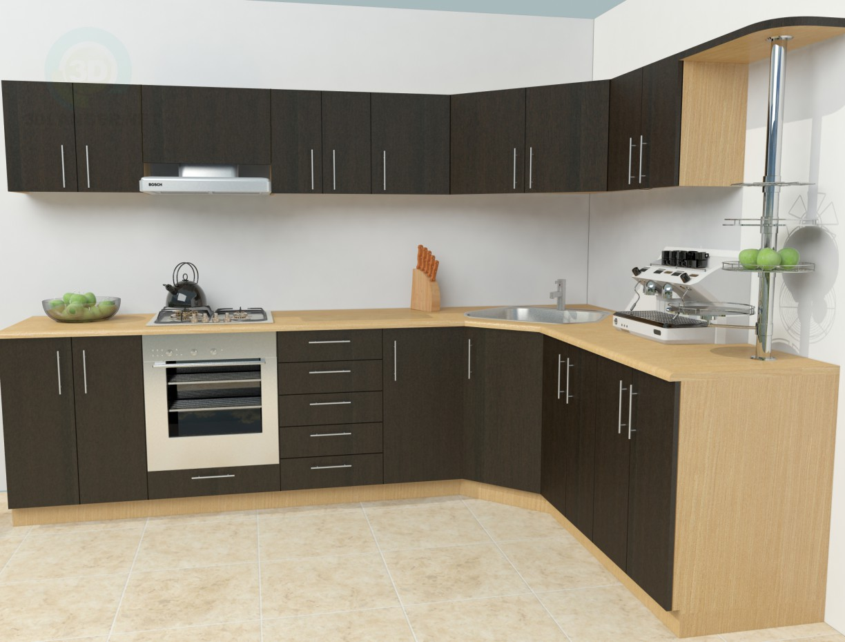 3d model simple kitchen download for free for Kitchen decoration image