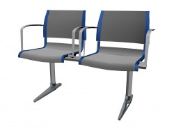 Double bench for conference with armrests
