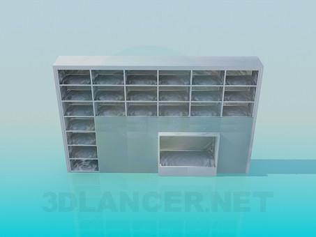 modelo 3D Estante con repisas para libros y un lugar para TV - escuchar