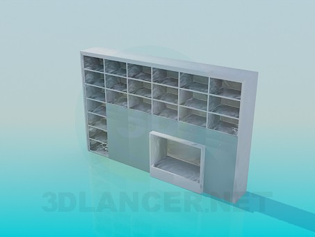 3d model Rack with shelves for books and a place for TV - preview