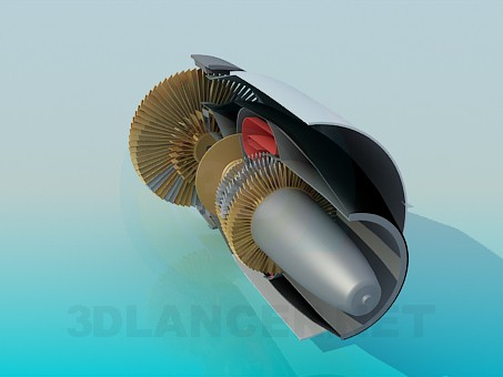 3d model Turbine of aircraft in cutaway - preview