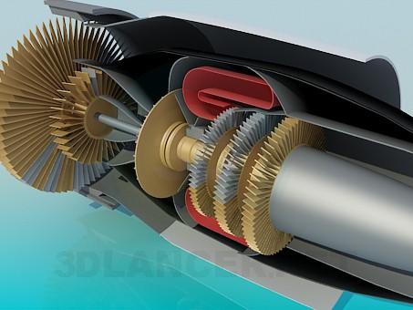 modelo 3D Turbina de avión en corte - escuchar