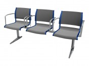 Triple seat for the conference with armrests