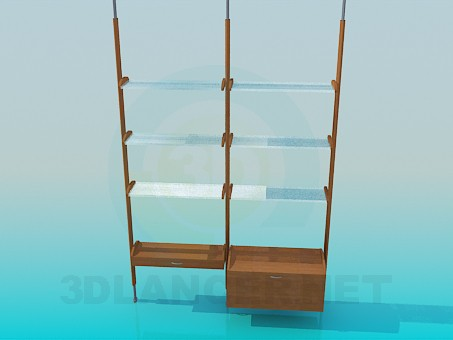 descarga gratuita de 3D modelado modelo Estante con repisas de vidrio