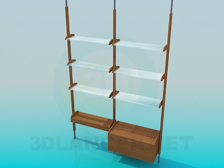 3d model Rack with glass shelves - preview