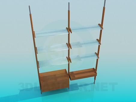 modelo 3D Estante con repisas de vidrio - escuchar