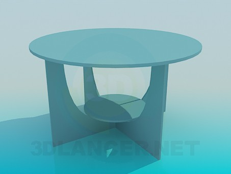 3d model Round table with shelf - preview