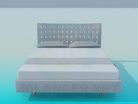 3d modeling Bed with slatted headboard model free download
