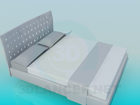 3d model Bed with slatted headboard - preview