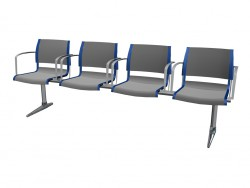 Four-sided seat with armrests for the conference