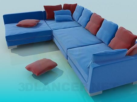 3d моделирование Огромный угловой диван модель скачать бесплатно