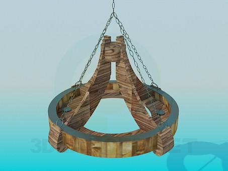3d моделирование Деревянная люстра под старинку модель скачать бесплатно