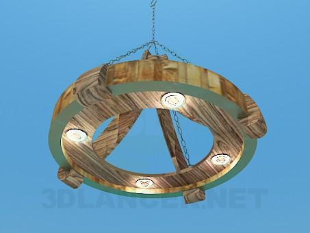 3d модель Деревянная люстра под старинку – превью