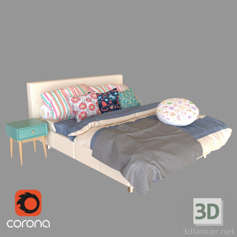 3d Bed_01 model buy - render