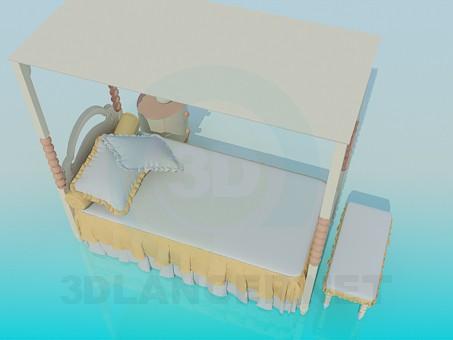 modelo 3D Cuna de la niña linda - escuchar