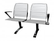 Double bench for conference with steel armrests