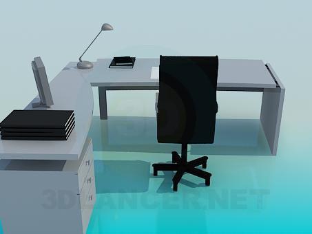modelo 3D Escritorio y silla - escuchar