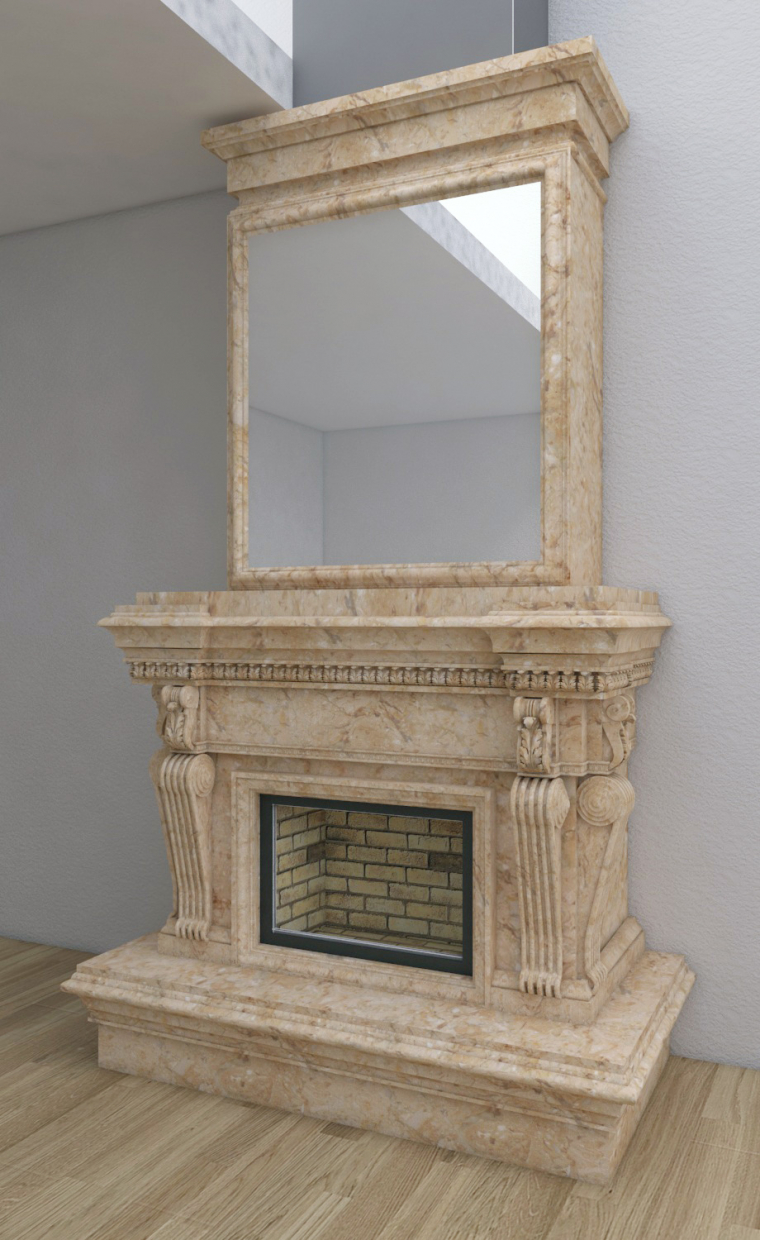 3d Victorian fireplace model buy - render