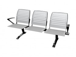 Triple bench for a conference with steel armrests