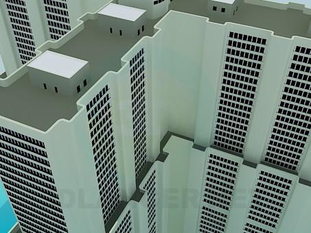 3d моделирование Многоэтажный офисный комплекс модель скачать бесплатно