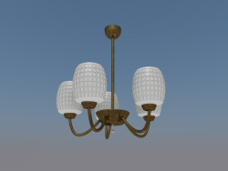 Simple chandelier 5 lamps (bronze, frosted glass)