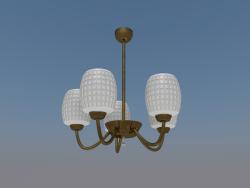 Araña simple de 5 lámparas (bronce, vidrio esmerilado).
