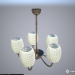 3d model Simple chandelier 5 lamps (bronze, frosted glass) - preview
