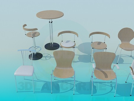 3d model A set of chairs - preview