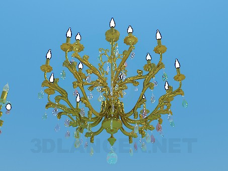 3d model Chandelier with candles for the festive hall - preview