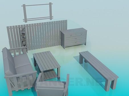3d модель Набор мебели – превью