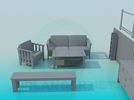 3d model A set of furniture - preview