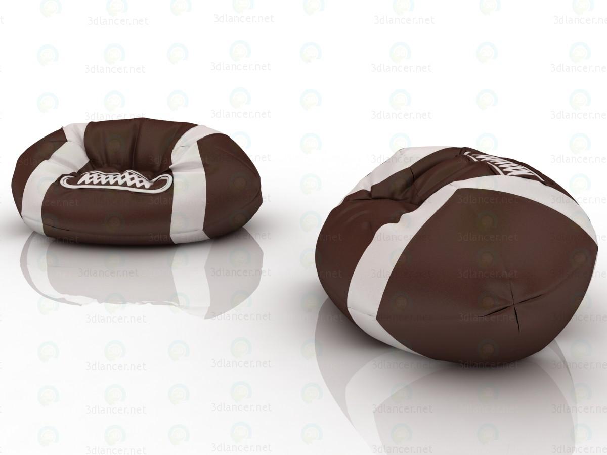 Кресло-мешок в форме мяча для регби для игровой комнаты 3d модель купить - рендер