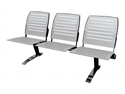 Triple seat for conference without armrests in steel