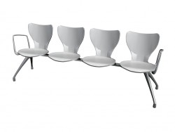 Four bench for conference polyamide with armrests